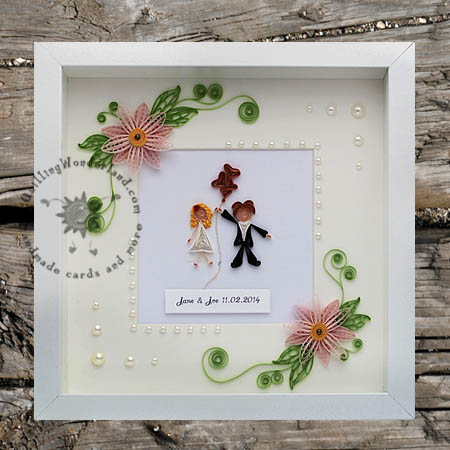 Wedding Keepsakes Shadow Box With Floral Mat And Stick People Couple