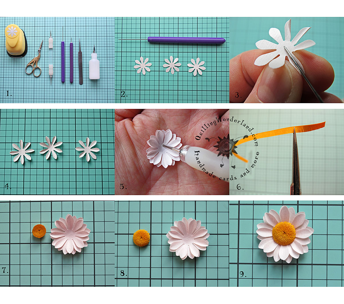 Simple paper daisy tutorial for Easy quilling designs step by step